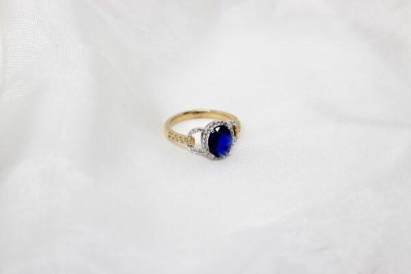 Anel Ouro Pedra Azul