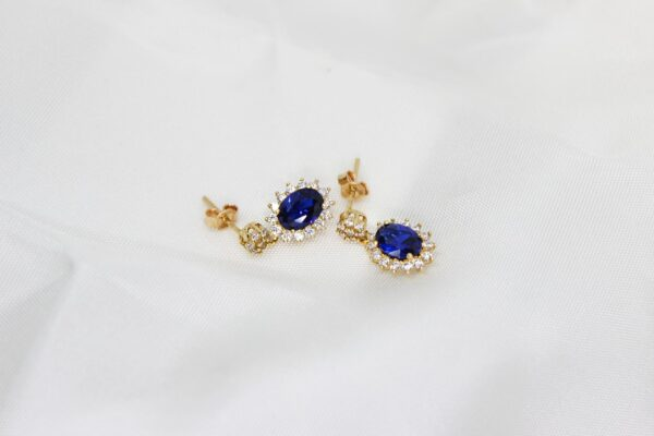 Brincos Ouro, Zircónias e Pedra Azul
