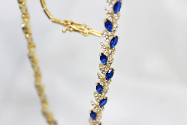 Colar Ouro com Zirconias Brancas e Azuis